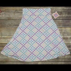 Women's NWT LULAROE Azure Retro Print Skirt SZ L